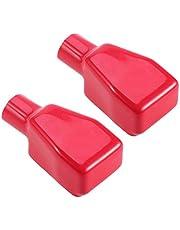 WINOMO 2pcs positivo batería Terminal couvre Top Post Flexible coche batería Terminal Aislamiento protector Caps–Talla L (rojo)