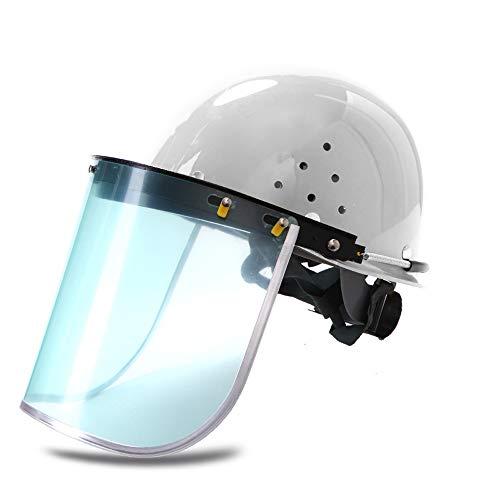 Casco protector Casco, Casco Protector trabajo Combinación - Seguridad Industrial casco protector de la cara, de varios colores opcionales (Color : White)