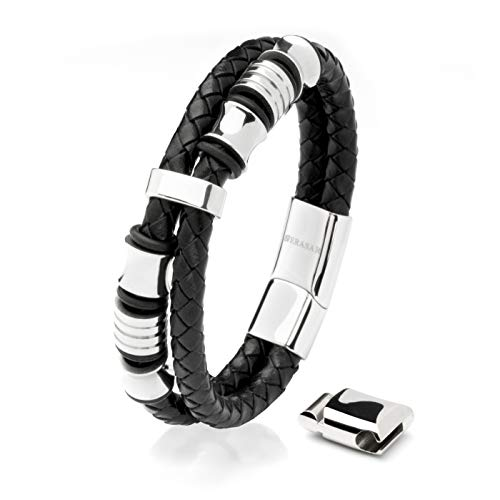 17cm Silver Bracelet Men Gift-Box Genuine-Leather Cowhide Braided Adjust-Able Magnetic-Clasp Multi-Layer Wrap Jewellery-Box Rope Man Mans Male Boy Boys Mens Bracelets Band Jewelry Magnet Accessories