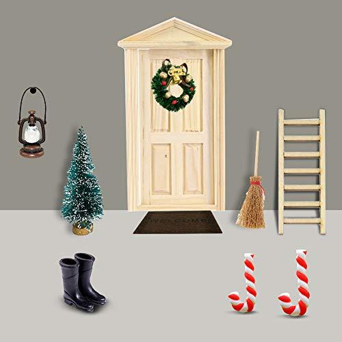 Gcroet Miniatur Puppenhaus-Wichteltür Weihnachten Set Miniatur Wichtel Set Wichtel Tür Nissedor mit Zubehör Stiefel Laterne Weihnachtsbaum Dekokranz Holzleiter Wichtelbesen Zuckerstange Verzierungen