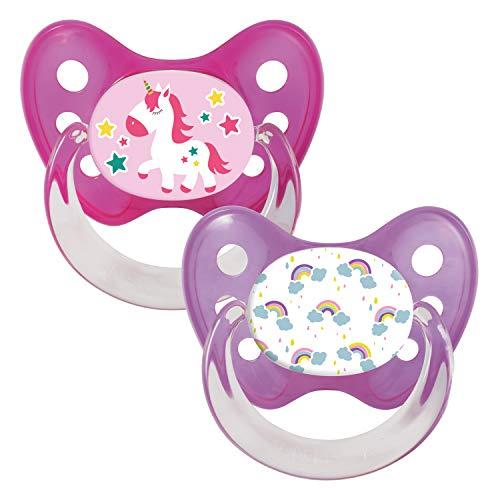Dentistar® Silikon-Schnuller 2er Set - Baby Nuckel Silikon in Größe 2-6-14 Monate - zahnfreundlich & kiefergerecht - Beruhigungssauger für Babys - Made in Germany - BPA frei -| Einhorn - Regenbogen