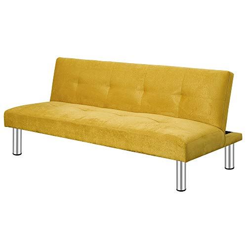 3 Seater Sofa Bed Small Corner Sofa Settee Recliner Couch with Chrome Legs Click Clack Sofa Bed For Living Room Guest Room Spare Room (Yellow)
