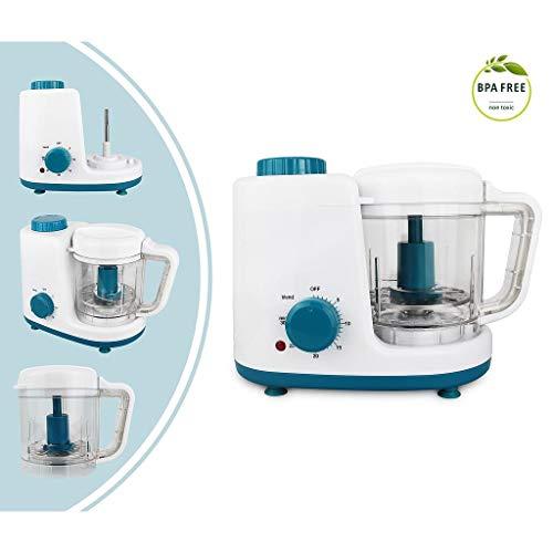 Leogreen – Baby-Küchenmaschine, Mixer für Babynahrung, Weiß/Blau, Funktion: 2 in 1 Dampfgarer und Mixer, Spannung: 220-240 V - 7