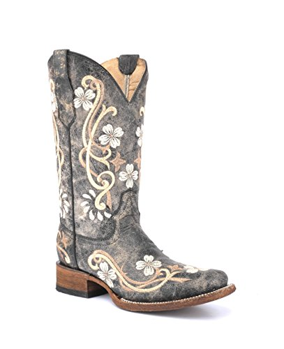 CORRAL Women's Floral Embroidery Boots, Black/Multi, 10 Medium
