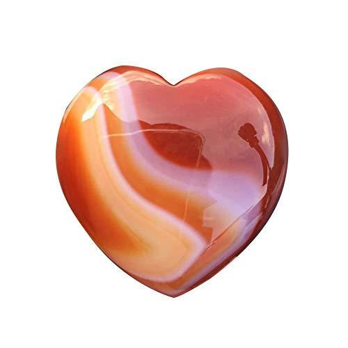 Cristal en forma de corazón de piedra, piedras preciosas naturales de cristal de piedras preciosas rosas de cuarzo en forma de corazón ágata a rayas, amor de palma tallada en cristal curar piedras.