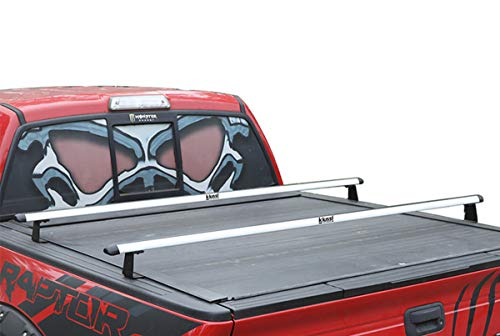 "Kiussi Pick-Up Truck Ladder Racks Work with Soft Roll Up or Retractable Tonneau Covers Not Affect Closing and Opening Two Cross Aluminum Bars Length Adjustable from 55"" to 41"