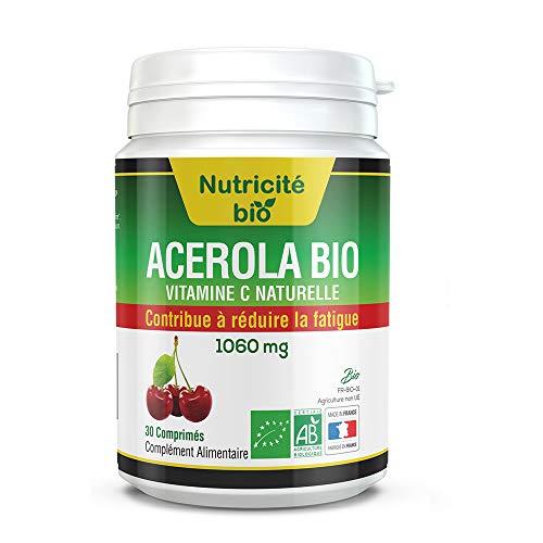 Acerola Bio - Vitamine C - Plus d'énergie pour affronter l'hiver - 180mg de Vitamine C naturelle - A croquer pour plus de tonus et de forme en hiver