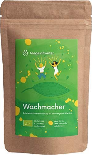 teegeschwister® | Wachmacher | BIO Grüntee-Mischung Sencha & Gunpowder mit Mate-Tee und Matcha-Pulver | koffeinhaltiger Morgen-Tee als Kaffeeersatz zum wach werden