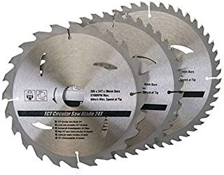 3 Pack 205mm x 30mm TCT Circular Saw Blades - 25mm, 18mm, 16mm Rings