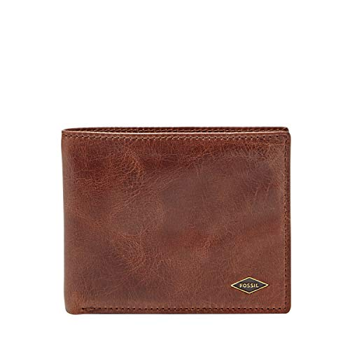 Fossil Men's Ryan Leather RFID blocking Bifold Wallet, Dark Brown