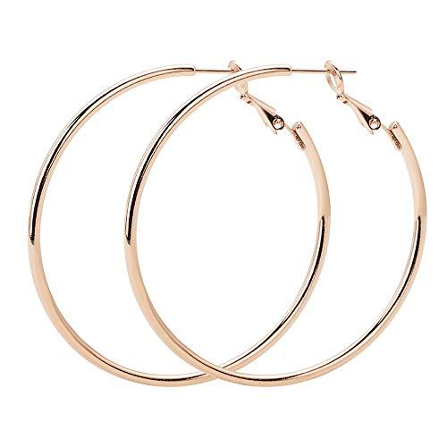 VU100 Orecchini Cerchio 60mm Argento sterling 18 carati Oro rosa lucido Orecchini a cerchio rotondo Gioielli per Donne Ragazze