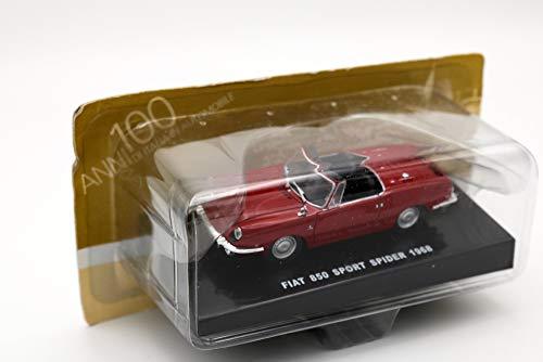 DeAgostini Modellino Auto Fiat 850 Sport Spider 1968 Rossa – Scala 1:43 – Collezione '100 Anni d'Italia in Automobile