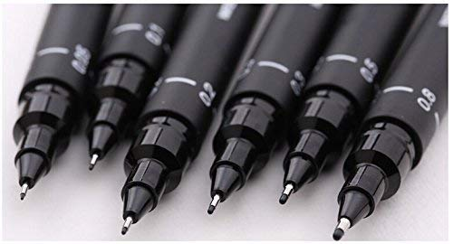 UNI PIN Drawing Pen Pigment Liner Set Black 0.05mm to 0.8mm [Set of 6]