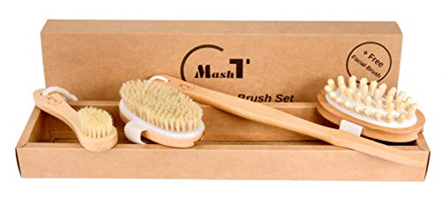 Dry Brushing Body Brush Set for Exfoliating Dry Skin |...