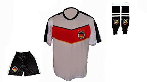 Spielfussballshop Deutschland Trikot Finale + Hose + Stutzen mit Wunschname + Nummer Erwachsenen Größen (S)