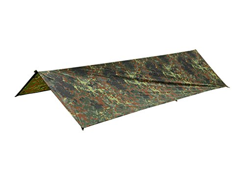 BE-X Frontier One Tarp/Kommandoplane, Flecktarn, IRR sicher, 144 x 250 cm (Made in Germany)