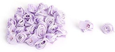 DealMux cetim Household casamento Mini Artificial apliques de flor rosa 20 PCS Roxo