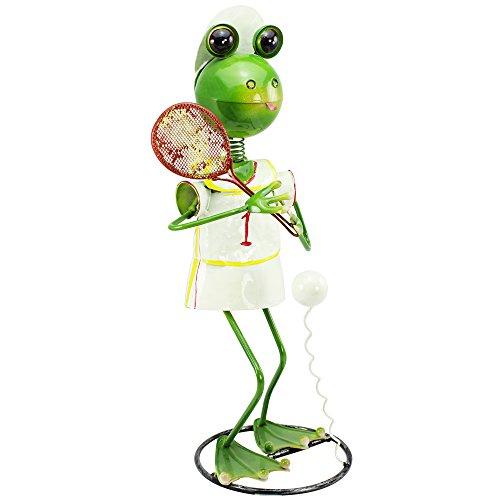 com-four® Figura Deco Rana con Raqueta de Tenis - Figura de jardín Hecha de Metal Pintado de Colores en diseño de Rana - Aproximadamente 44x23x21cm (1 Pieza - Rana con Raqueta de Tenis)