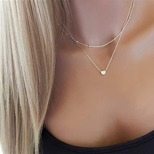 TseenYi Modische mehrlagige Halskette mit Herz-Anhänger, Perlen-Choker, mehrlagige Halskette, Schmuck für Frauen und Mädchen (Gold)