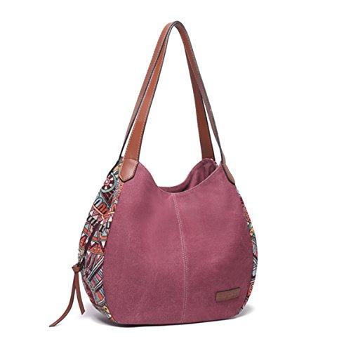 Sac à bandoulière pour les femmes, Bernice Bohemia Sacs portés épaule, grande capacité toile Floral sac à main Totes sacs à main - Rouge - 33cm x 13cm x 31cm