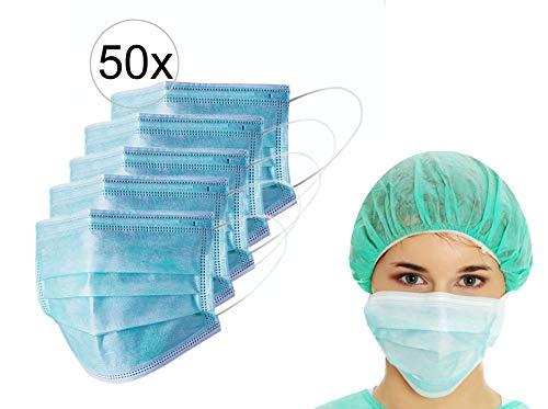 50er Spenderbox TÜV zertifizierte 3-lagige Einweg Mund- Nasen- OP-Masken mit CE & EN14683 Typ II Zertifikat und 98% BFE - Mit Nasenbügel - Frei von Latex und Fiberglas
