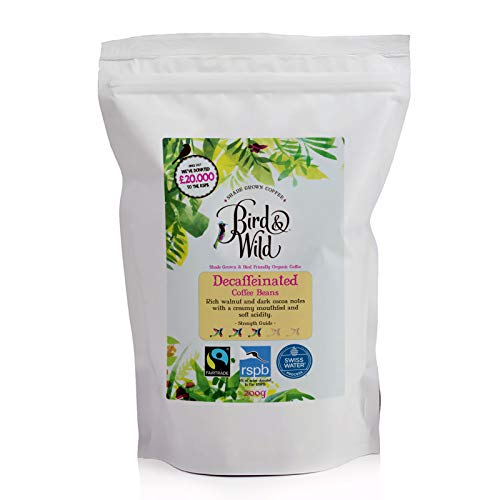 Fairtrade Organic Decaffeinated Coffee, Swiss Water Decaf Process, Bird & Wild RSPB Coffee, 6% of Sales donated to RSPB Charity