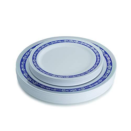 Blue and Silver Plastic Plates Set, Royal Collection White Silver Blue Plastic Plates Includes 40 10.25 Dinner Plates / 40 7.25 Salad Plates Fancy Disposable Dinnerware - Posh Setting
