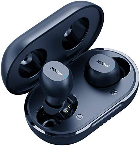 Wireless Earbuds, Mpow M12 Bluetooth Earbuds, Wireless Charging & USB-C Charging Case Bluetooth Headphones Wireless Earphones w/Mic, Bass Sound/IPX8 Waterproof/Touch Control/25 Hrs/Dual Modes, Black