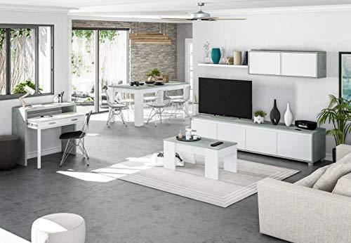 EGLEMTEK Parete Attrezzata Ginevra Mobile Soggiorno TV con Mensole Salotto Legno Base Televisione Sala da Pranzo Design Moderno 200 x 41 x 43 cm Colore Bianco e Cemento