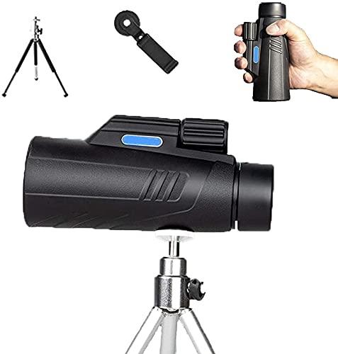 Telescópio monocular 40x60 para smartphone com suporte para celular Tripé Binóculos de alta potência com visão noturna Capacidade de zoom potente à prova d'água para adultos Observação de pássaros