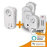 Brennenstuhl enchufe inteligente WiFi 433 MHz emisor + Set de 4 enchufes de radio (enchufes inalámbricos para uso en interiores, mando a distancia, radio control)