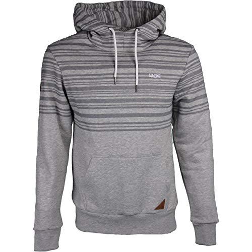 mazine Mitcham Striped Heavy Hoody - Herren Streetwear - Kapuzenpulli mit Kängurutasche - Farbe: Grey Melange - Grösse L
