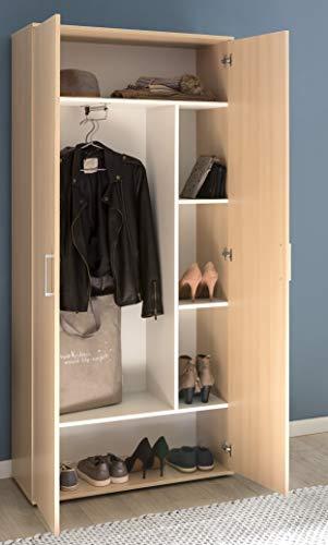 Kleiderschrank Mehrzweckschrank Dielenschrank Buche ausziehbarer Kleiderstange - (3744)