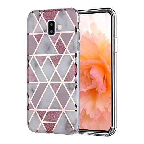 Misstars Hülle für Galaxy J6 Plus 2018, Bling Glitzer Geometrischer Marmor Muster TPU Silikon Weiche Schutzhülle Slim Handyhülle Kompatibel mit Samsung Galaxy J6 Plus 2018, Rosa