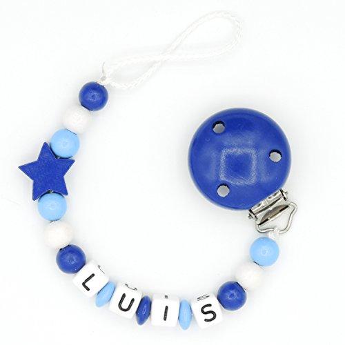 """Schnullerkette """"Mundspiel"""" mit Namen - Junge - dunkelblau - Geschenk zur Geburt oder Taufe (Luis)"""