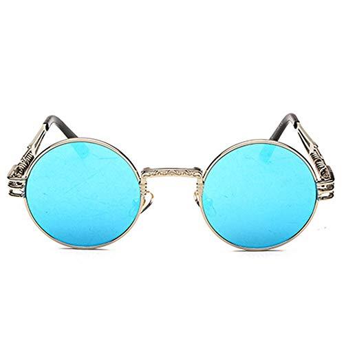 Yangmanini Personalidad Vintage Steampunk UV400 Gafas De Sol Marco Redondo Tendencia Marco De Plata Lente Azul Gafas De Sol De Las Mujeres Hombres Viajes Selfie