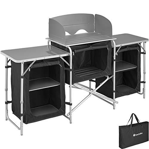 tectake 800747 Cocina de Camping, Aluminio, Plegable para Exteriores, Patas Ajustables, Compartimentos, Negro, Incl. Bolsa de Transporte - Varios Modelos (Tipo 1 | No. 403344)