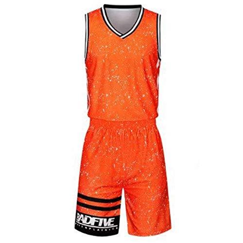 Mouwloze V-hals Basketbal Uniform pak heren oranje mouwloos Sportswear pak L-5XL