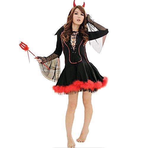 fagginakss Damen Teufelin Kostüm Sexy Kleidung Königin Spieluniform Kostümset Teufel Sets mit Hörner und Dreizack Halloween Cosplay Karneval Fasching
