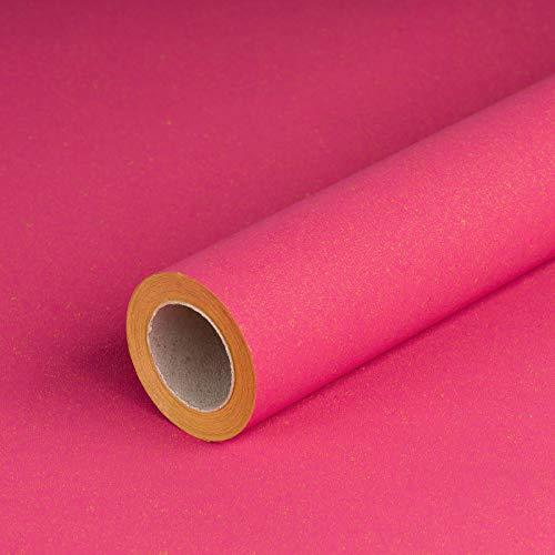 Geschenkpapier PINK, Recyclingpapier, glatt, 80 g/m², pinkes Geburtstagspapier, Weihnachtspapier - 1 Rolle 0,7 x 10 m