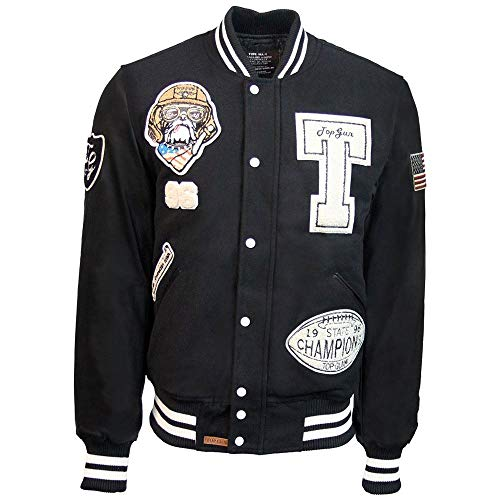 Top Gun Wool Leather Top Dog Varsity Bomber Jacket Black
