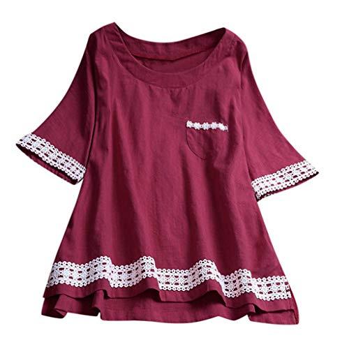 Auifor Camiseta de Manga Corta de Lino Suelta para Mujer, tamaño Extra Grande, Camisa de Blusa Tanic