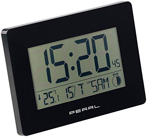 PEARL Funkuhr mit Datum: Funk-Wanduhr mit Jumbo-Uhrzeit, Temperatur- & Datums-Anzeige, schwarz (Funkuhr mit Datum und Wochentag)