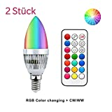 Luxvista E14 LED RGBW Kerzenbirne 3W C35 220V 16-Farbwechsel SES Glühbirne mit E14 Sockel Dimmbar Warmweiß 3000K 120° Grad Abstrahlwinkel Leuchtmittel mit Speicherfunktion (2Stück, Dimmbar)