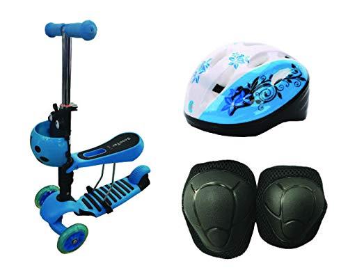 Calma Dragon Patinete YX-S49 Scooter 3 en 1, Tres Ruedas de LED, Altura Ajustable con Cesta de Mariquita, para Niños y Niñas, con Protección de Regalo (Celeste)