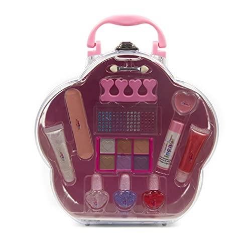 Inca. Maletín de Maquillaje y manicura para niña con Variedad de pintalabios, Sombras de Ojos, Pinceles y Set de manicura....