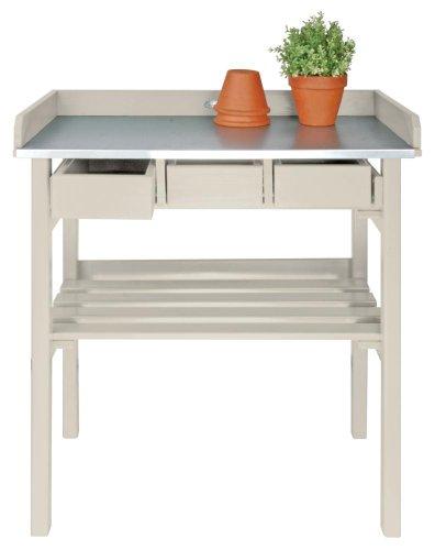 Esschert Design Pflanztisch, Gartentisch in weiß, ca. 79 cm x 38 cm x 82 cm
