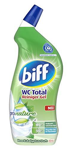Biff WC Total Reiniger Gel Pro Nature Minze Eukalyptus Duft, WC-Reiniger, 1 x 750 ml, mit 90 Prozent naturbasierten Inhaltsstoffen