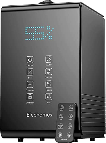 Elechomes SH8820 Humidifier, 5.5L Top Fill Warm and Cool Mist Humidifiers for Large Room Bedroom Plants with Remote Control, 20db Ultra Quiet, LED Display, 600ml/h Max Humidity, Auto Shut-off, Black