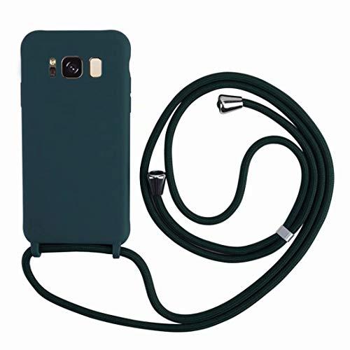 2ndSpring Funda con Cuerda Compatible con Samsung Galaxy S8,Colgante Collar Correa de Cuello Cadena Cordón,Silicona Suave Verde Oscuro